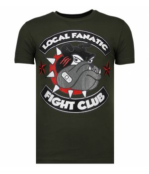 Local Fanatic Fight Club Spike - Rhinestone T-shirt - Khaki