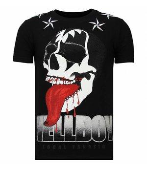 Local Fanatic Hellboy - Rhinestone T-shirt - Zwart