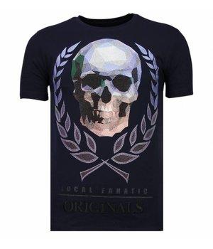 Local Fanatic Skull Originals - Rhinestone T-shirt - Navy