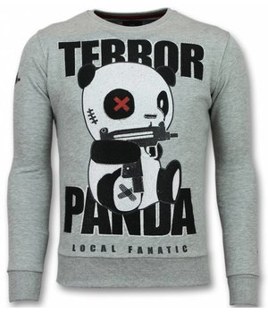 Local Fanatic Panda Trui - Terror Sweater Heren - Mannen Truien - Grijs