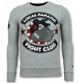Local Fanatic Fight Club Trui - Bulldog  Heren Sweater - Truien Mannen - Grijs