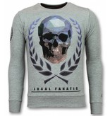 Local Fanatic Doodskop Trui - Skull Rhinestone Heren Sweater - Grijs