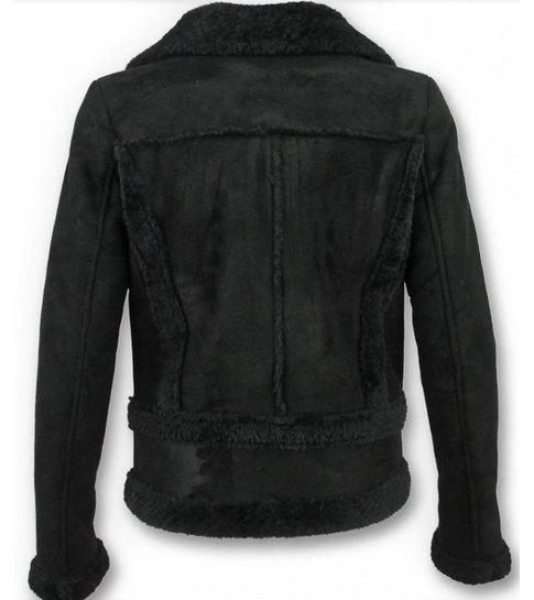 Z-design Bikerjack Dames Suede – Lammy Coat – Zwart