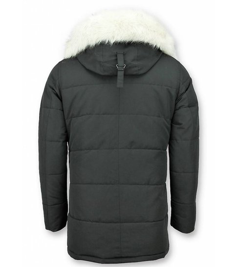 Just Key Heren Winterjas – Parka Met Bontkraag – Zwart