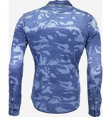 DANIELE VOLPE Denim Overhemd - Slim Fit Army Print - Blauw