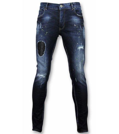 JUSTING Heren Jeans - Spijkerbroek Heren - Paint Drops DQ - Blauw