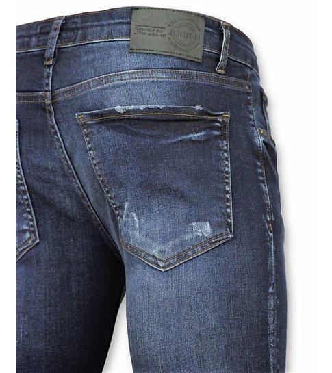 JUSTING Broeken Heren - Mannen Spijkerbroeken - Paint Drops DQ - Blauw