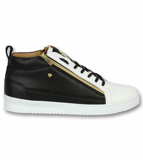 Cash Money Heren Schoenen - Heren Sneaker Bee Black White Gold - CMS98 -  Zwart/Wit