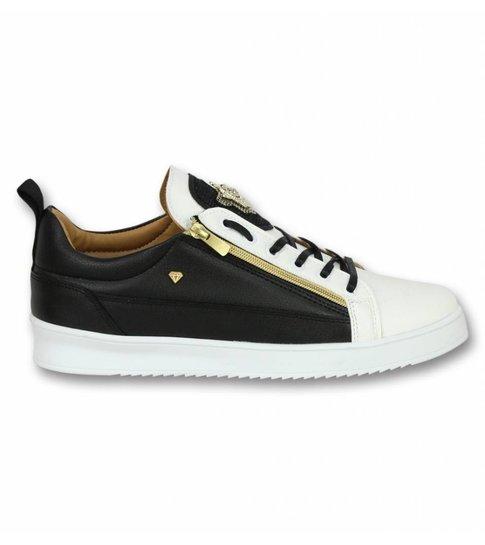 Cash Money Heren Schoenen - Heren Sneaker Bee Black White Gold - CMS97 - Wit/Zwart