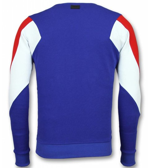 TONY BACKER Three Color Trui - Squad Sweater Heren - Blauw