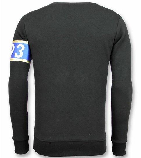 UNIMAN Stripe Color Trui - Sqouad-93 Sweater Heren - Zwart