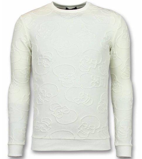 UNIPLAY Skull Print Trui - Death's Head Print Sweater Heren - Wit