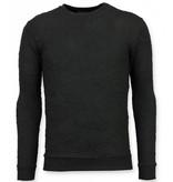 TONY BACKER Skull Print Trui - Death's Head Sweater Heren - Zwart