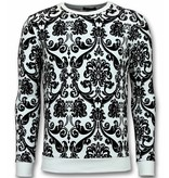 TONY BACKER Flockprint Trui - Bladeren Sweater Heren - Wit