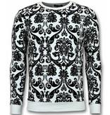 UNIMAN Flockprint Trui - Bladeren Sweater Heren - Wit