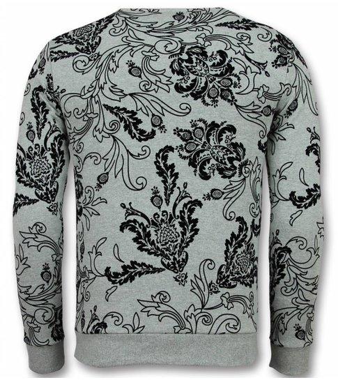UNIMAN Flockprint Trui - Bladeren Sweater Heren - Grijs