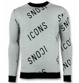 TONY BACKER Print Trui - ICONS Sweater Heren - Grijs