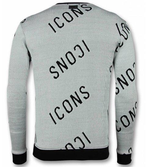 UNIMAN Print Trui - ICONS Sweater Heren - Grijs