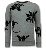 TONY BACKER Flock Print Trui - Bladeren Zwart Sweater Heren - Grijs