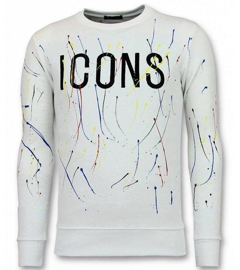 UNIMAN Paint Drop Trui - ICONS Sweater Heren - Wit