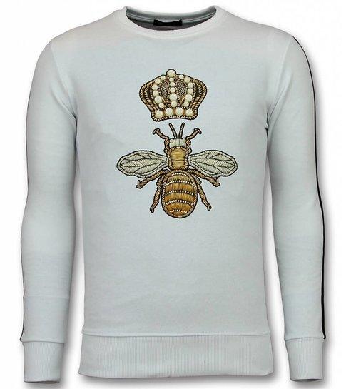 TONY BACKER Flock Print Trui - Royal Bee Sweater Heren - Wit
