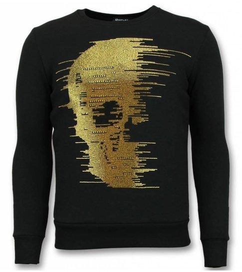 TONY BACKER Rhinestone Trui - Gold  Skull  Sweater Heren - Zwart