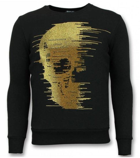 UNIMAN Rhinestone Trui - Gold  Skull  Sweater Heren - Zwart