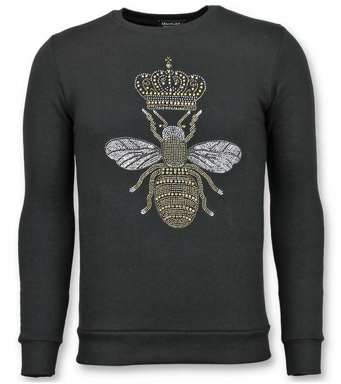 TONY BACKER Rhinestone Trui - Master Bee Sweater Heren - Zwart