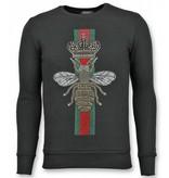 TONY BACKER Rhinestone Trui - Master Royal Color Bee Sweater Heren - Zwart