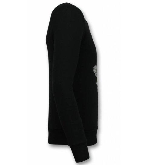 UNIMAN Rhinestone Trui - Master Royal Color Bee Sweater Heren - Zwart