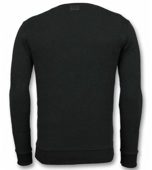 UNIMAN Rhinestone Trui - Master Tiger Sweater Heren - Zwart