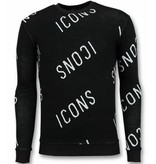 TONY BACKER Print Trui - ICONS Sweater Heren - Zwart