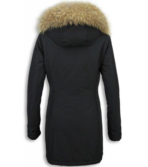 ACTIE LOVEBRAND  Dames Winterjas Wooly - ACTIE - XL Bontkraag - Zwart