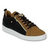 Cash Money Heren Schoenen - Heren Sneaker Bee Camel Black  Gold - CMS97 - Bruin