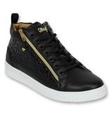 Cash Money Heren Schoenen - Heren Sneaker Croc Black Gold - CMS98 - Zwart