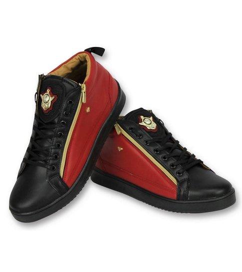 Cash Money Heren Schoenen - Heren Sneaker Bee Red Black Gold 2 - CMS98 - Zwart/Rood