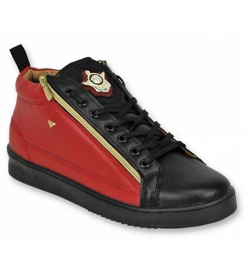 5fc3554cd3d ... Cash Money Heren Schoenen - Heren Sneaker Bee Red Black Gold 2 - CMS98  - Zwart ...
