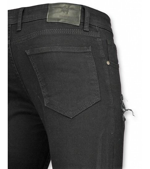Mario Morato Skinny Heren Jeans - Stretch Jeans Heren - White Print 1474 - Zwart