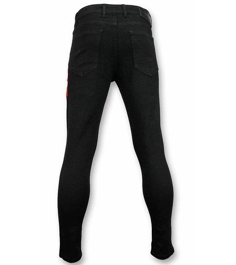 Mario Morato Skinny Heren Jeans - Ripped Jeans Heren - Skull Red 1510 - Zwart