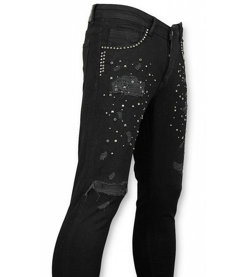 Mario Morato Skinny Heren Jeans - Mannen Spijkerbroeken - Skull Color 1576 - Zwart