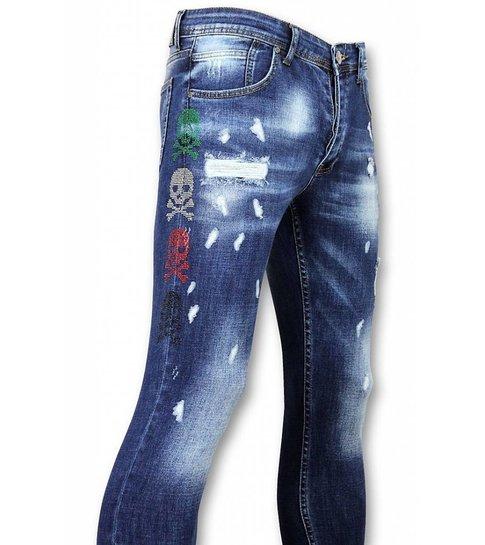 Mario Morato Skinny Heren Jeans - Jeans Kopen Heren - 3 Color Skull 1428 - Blauw