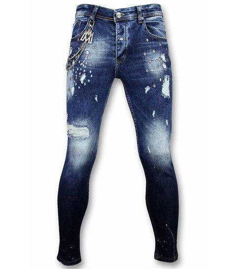 Mario Morato Skinny Jeans Heren - Jeans Online - Studs 1574- Blauw