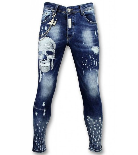 Mario Morato Heren Broeken - Mannen Spijkerbroeken - Paint Drops DQ - Zwart - Copy