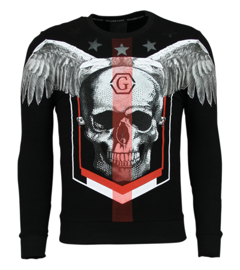 ENOS Rhinestone Trui Heren - Doodskop Sweater - Ster Skull - Zwart