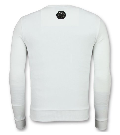 ENOS Mannen Sweater - Doodskop Crewneck - Ster Skull Trui  - Wit