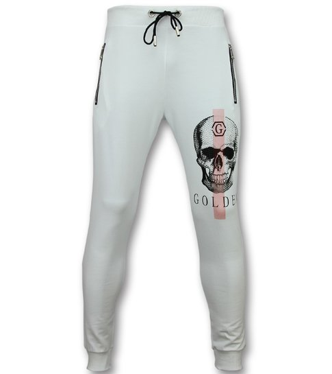 Golden Gate Mannen Joggingbroek - Sportbroek Heren Print Skull  - Wit