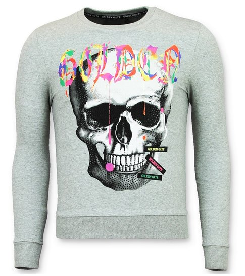 ENOS Trui Mannen - Doodskop Heren Sweater  - Golden Skull - Grijs