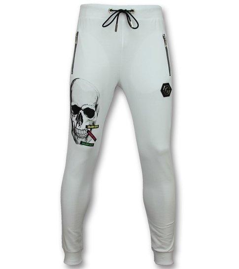 Golden Gate Skinny Trainingspak Heren - Joggingpak Heren Goedkoop - Color Skull - Wit