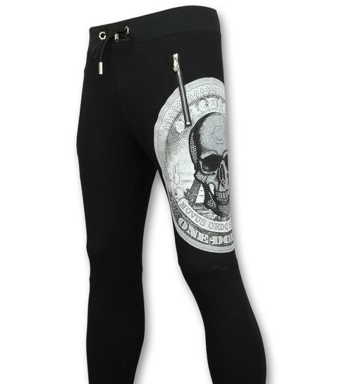 ENOS Casual Joggingbroek Heren -  Trainingsbroek Print Skull  - Zwart
