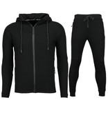Enos Slim Fit Joggingpak Mannen - Heren Trainingspak Kopen Basic- F552 - Zwart